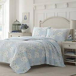 Laura Ashley Kenna Blue 3-Piece Quilt Set, Cotton, Twin/Full