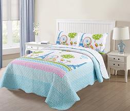 MarCielo 3 Piece Kids Bedspread Quilts Set Throw Blanket for