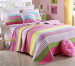 HNNSI Queen Size Kids Girls Comforter Quilt Sets 3 Pieces, P