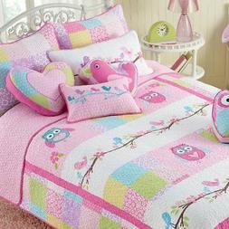 Cozy Line Pink Owl 2 Pcs Quilt Set for Kids/Girls Bedding, T