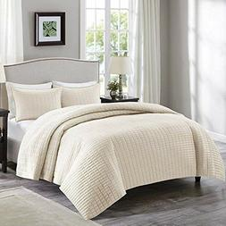 Comfort Spaces - Kienna Quilt Mini Set - 3 Piece - Ivory - S