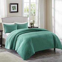 Comfort Spaces - Kienna Quilt Mini Set - 3 Piece - Teal - St