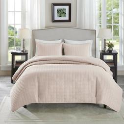 Comfort Spaces - Kienna Quilt Mini Set - 3 Piece - Blush - S
