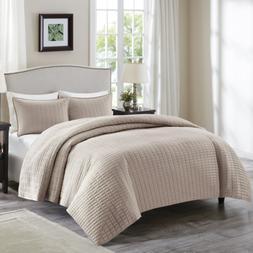 Comfort Spaces - Kienna Quilt Mini Set - 3 Piece - Taupe - S