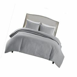 Comfort Spaces - Kienna Quilt Mini Set - 3 Piece - Gray - St