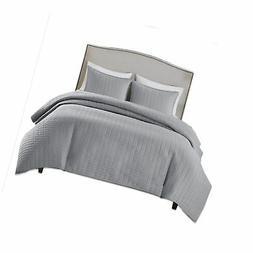 Comfort Spaces - Kienna Quilt Mini Set - 2 Piece - Gray- Sti