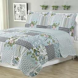 Kim - 3 Piece Quilt bedspread Set queen and king size - Silv