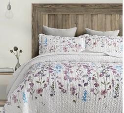 Bedsure King 3-Piece Quilt Set Coverlet Floral Lilac Elegant