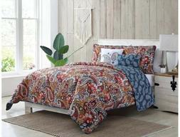 VCNY Home KING 5 Piece BREE Reversible Quilt Bedding Set Red