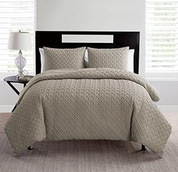 King Comforter Set : Embossed Geometric Design , All Season