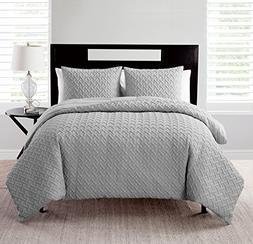 King Comforter Set : Embossed Geometric Design , All Season