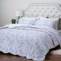 KING Bedsure English Garden  Blue Floral Quilt Set Quilt Sh