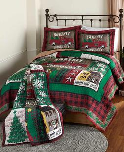 King or Queen Quilt Set Bedding Holiday Vintage Christmas Ho