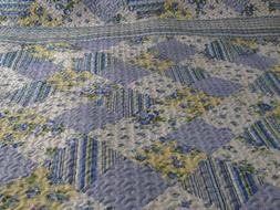 King Quilt & Sham Set Blue Yellow White Patchwork Design 3 p