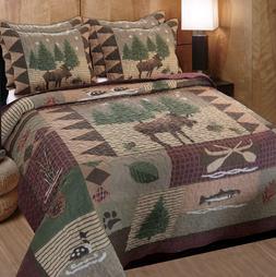 King Quilt Set Bedspread Shams Rustic Bedroom Moose Log Cabi
