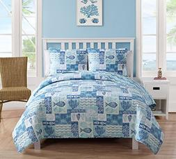 VCNY Home King Size Quilt Set in Blue Beautiful Beach 3 Pc S