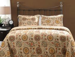 Greenland Home Andorra Quilt & Sham Set, 3-Piece Full/Queen