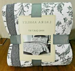 Laura Ashley King Quilt Set White Black Floral Amberley Cott