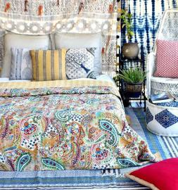 King Size Kantha Quilt Paisley Blanket Bed Cover Bedspread B