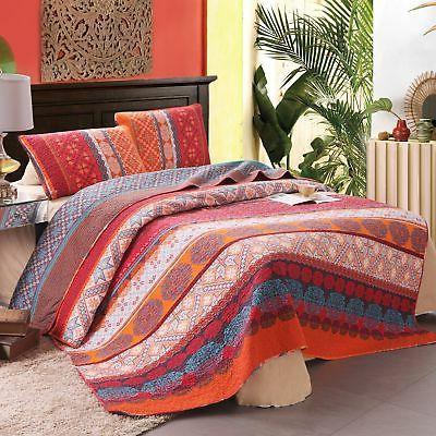 Exclusivo Mezcla 100% Cotton 3-Piece Exotic Boho Quilt Set,