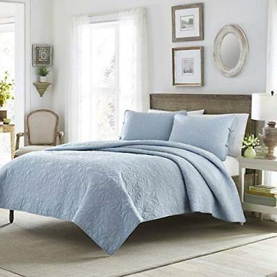 100% Cotton Soft & Lightweight Quilt Set Breeze Blue Colour