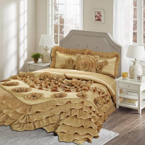 1631 q comforter set queen gold