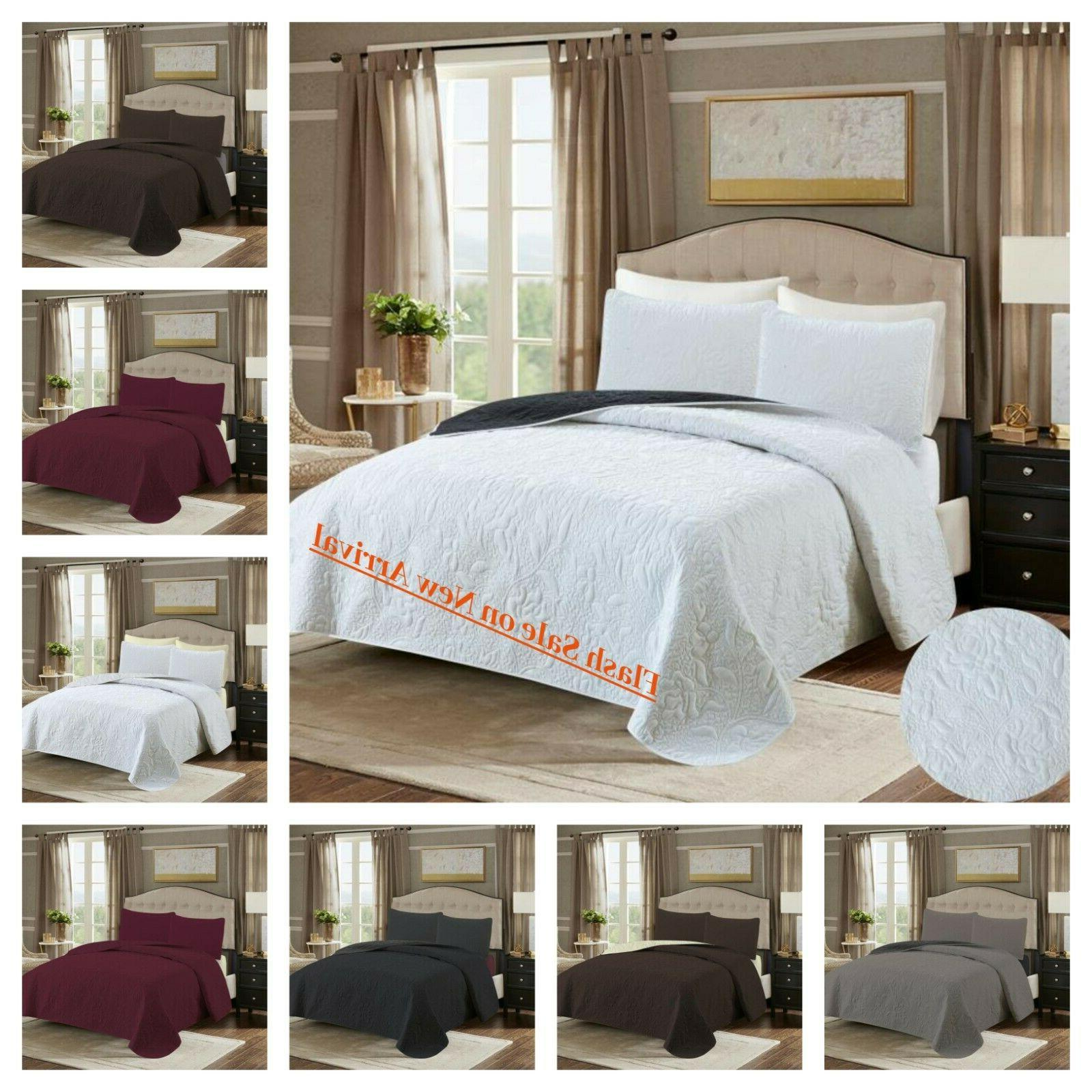 2 3 pc embossed bed spread coverlet