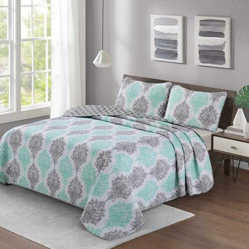 2/3 Bed Coverlet Set Twin King Shams Spring