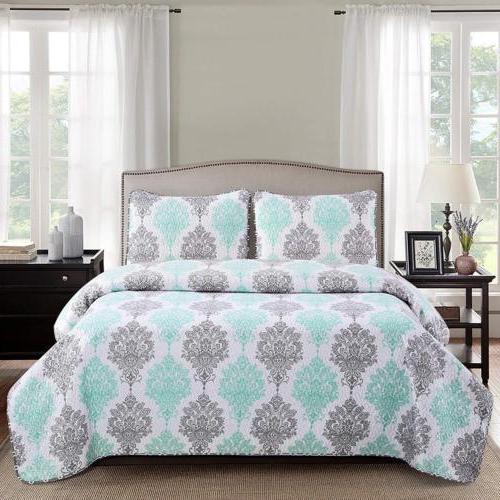 2 3 piece bed quilt coverlet set