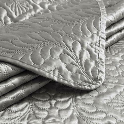 Luxury Quilt Coverlet Satin Super Set
