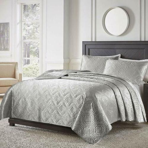 2 3 piece bedspread quilt coverlet solid