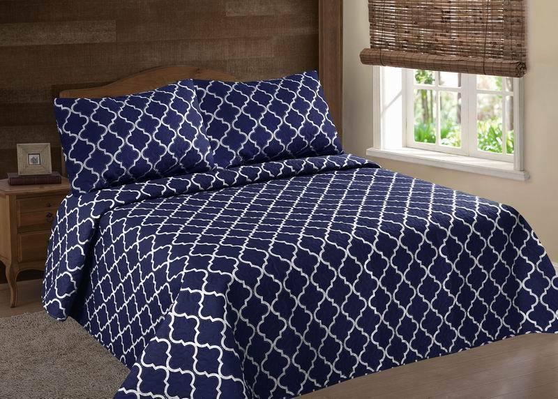 2 3pc bed bedspread quilt set coverlet