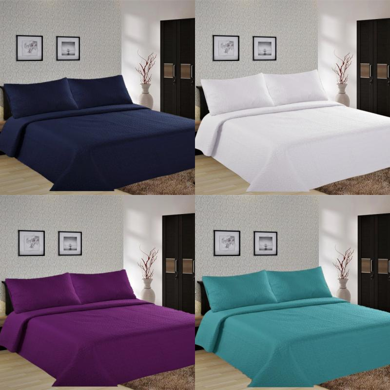 2 3pc lancaster geometric bed bedspread quilt