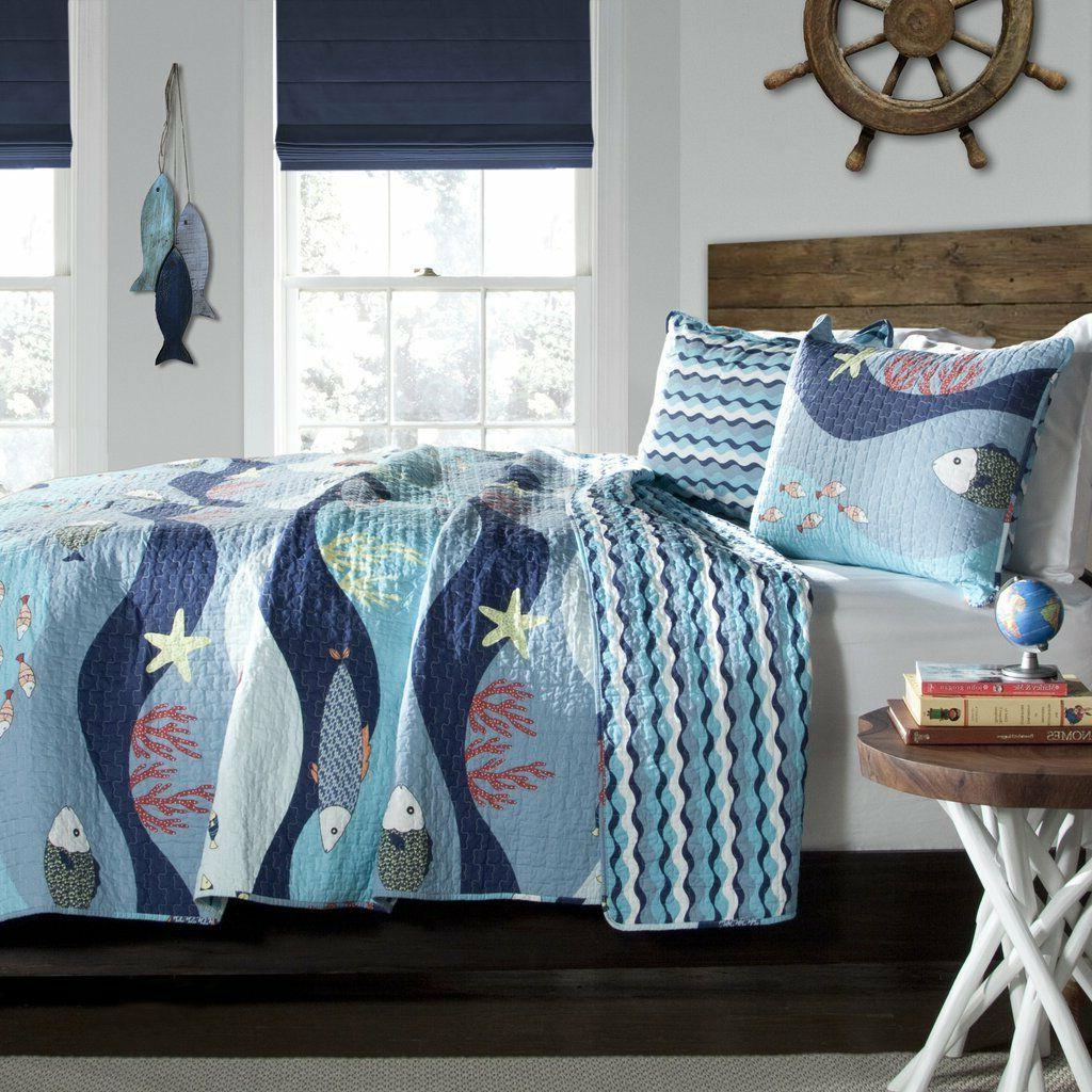 2p SEA LIFE Twin Quilt Set reversible Aqua/Blue Fish Beach B
