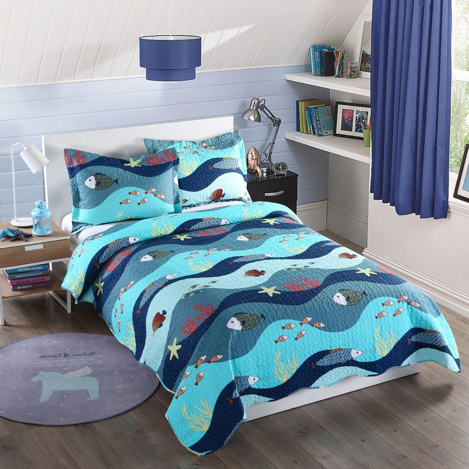 2pcs kids quilt bedspread comforter set throw
