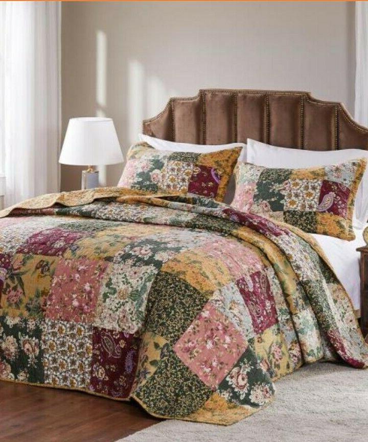 3 pc ANTIQUE King Quilt Floral Paisley Reversible NEW! Sale!!