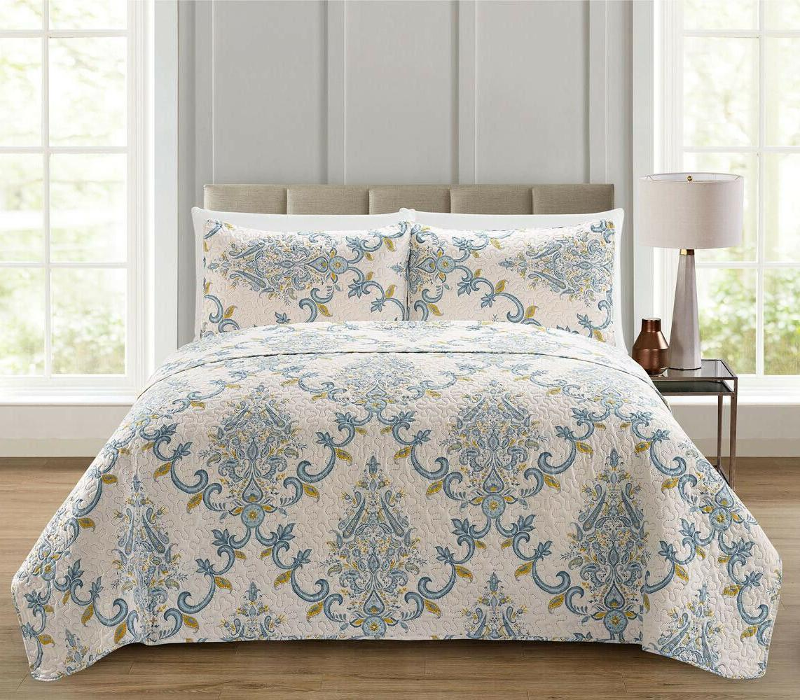 3 pc blue gray and yellow floral