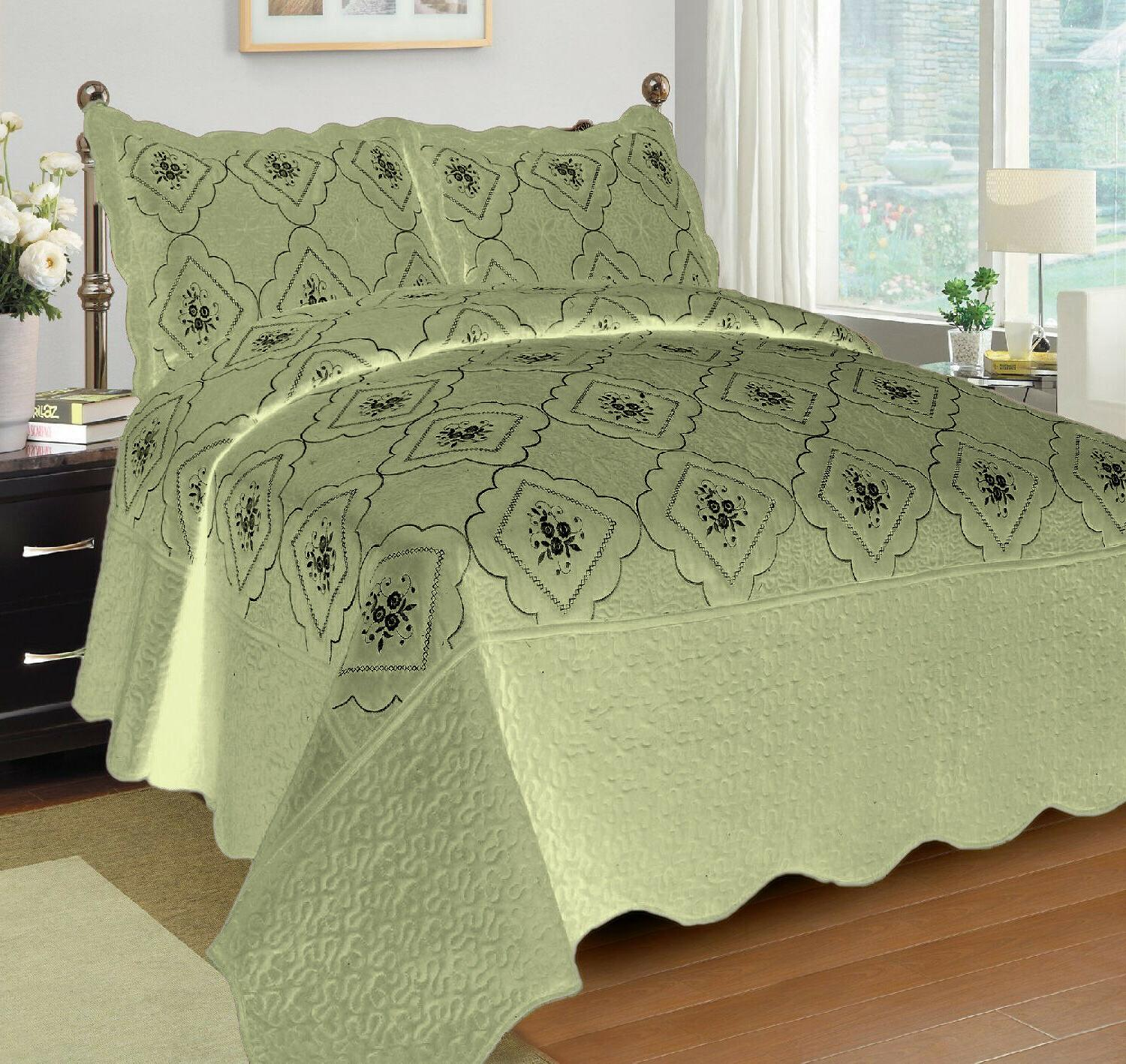 3 Polyester Bedspread Quilted Embroidery Coverlet