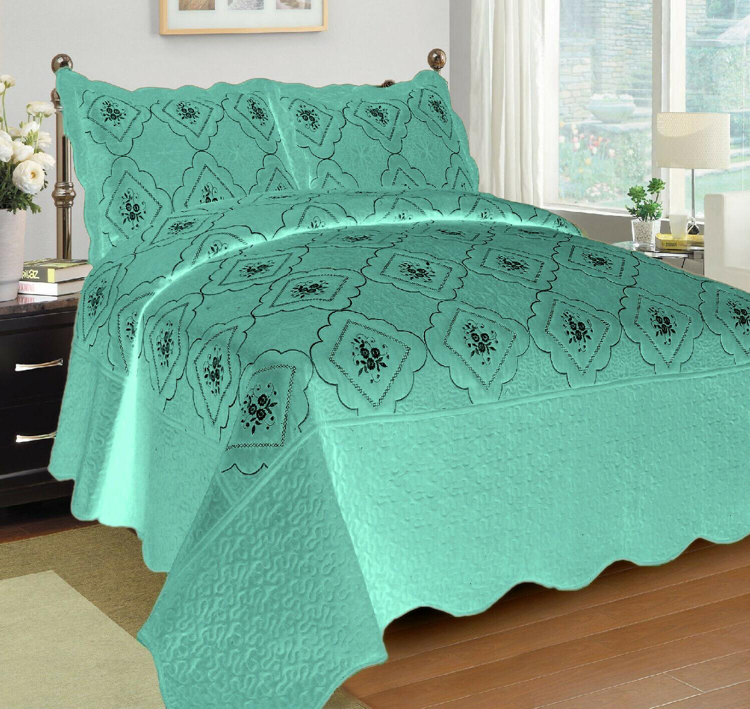 3 Pcs Polyester Quilted Coverlet