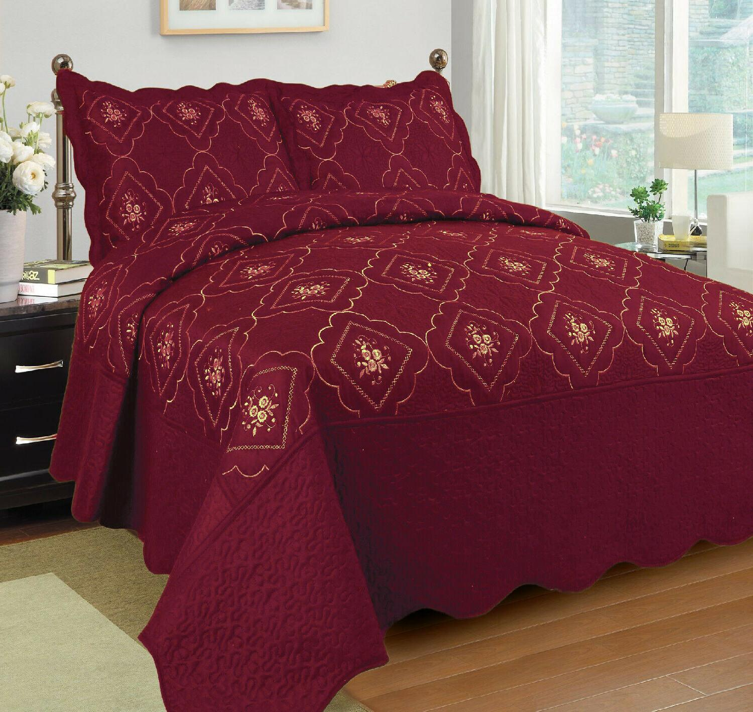 3 pcs polyester bedspread quilted bed cover