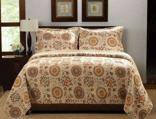 3 piece andorra quilt set king multicolor