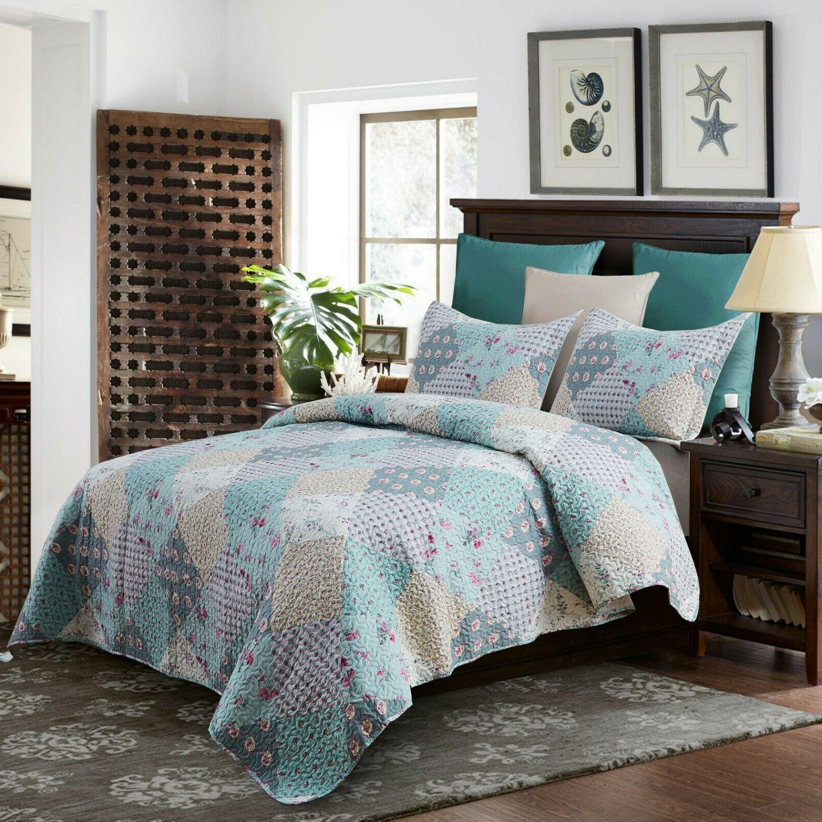 3 Piece Reversible Bedspread Quilt Set Patchwork Coverlet Se