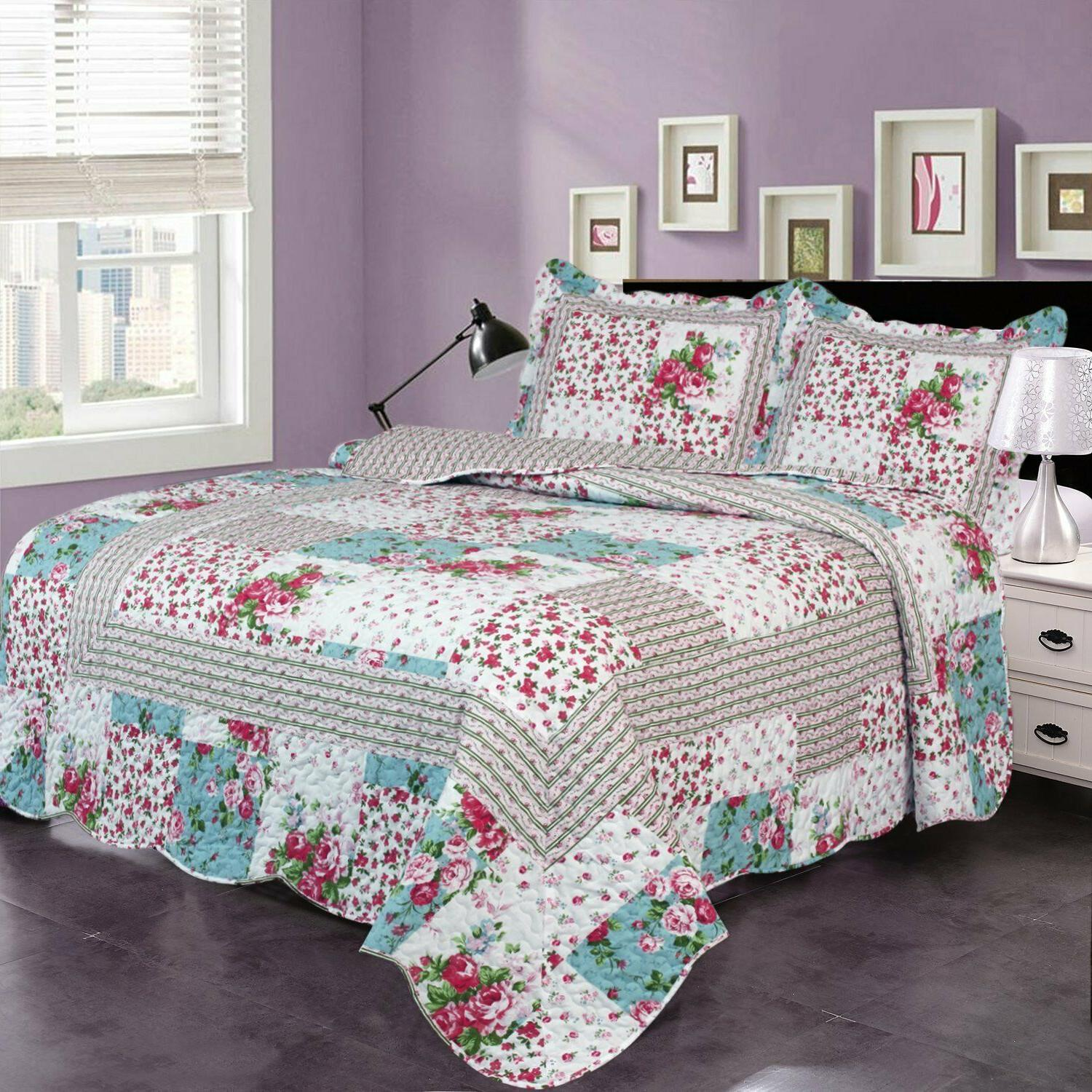 3-Piece Beach Theme Quilt Set with Bedspread and