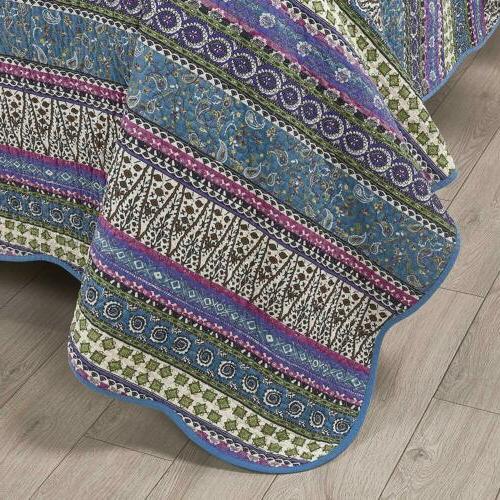 3-Piece Blue Boho Cotton Set