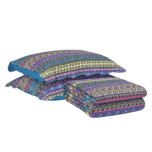 3-Piece Blue Boho Floral Bohemian Pre-Washed Cotton Quilt Set