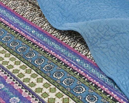 3-Piece Blue Floral Bohemian Pre-Washed Cotton Set