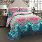 Lush Decor 3 Piece Boho Chic Quilt Set, Full/Queen, Turquois