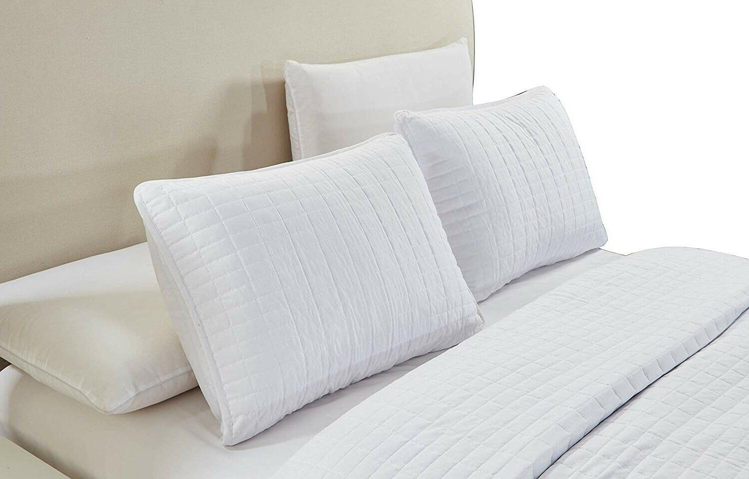 3 CAL Size Solid White Bedspread Coverlet