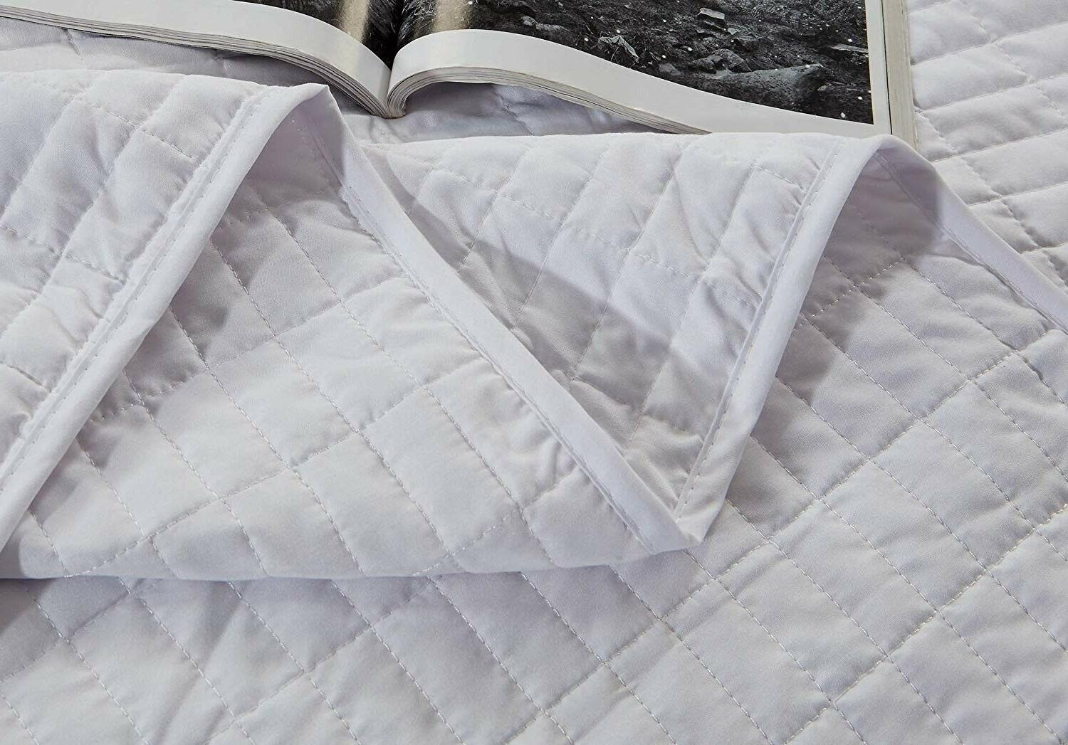 3 KING Size Solid White Bedspread Coverlet