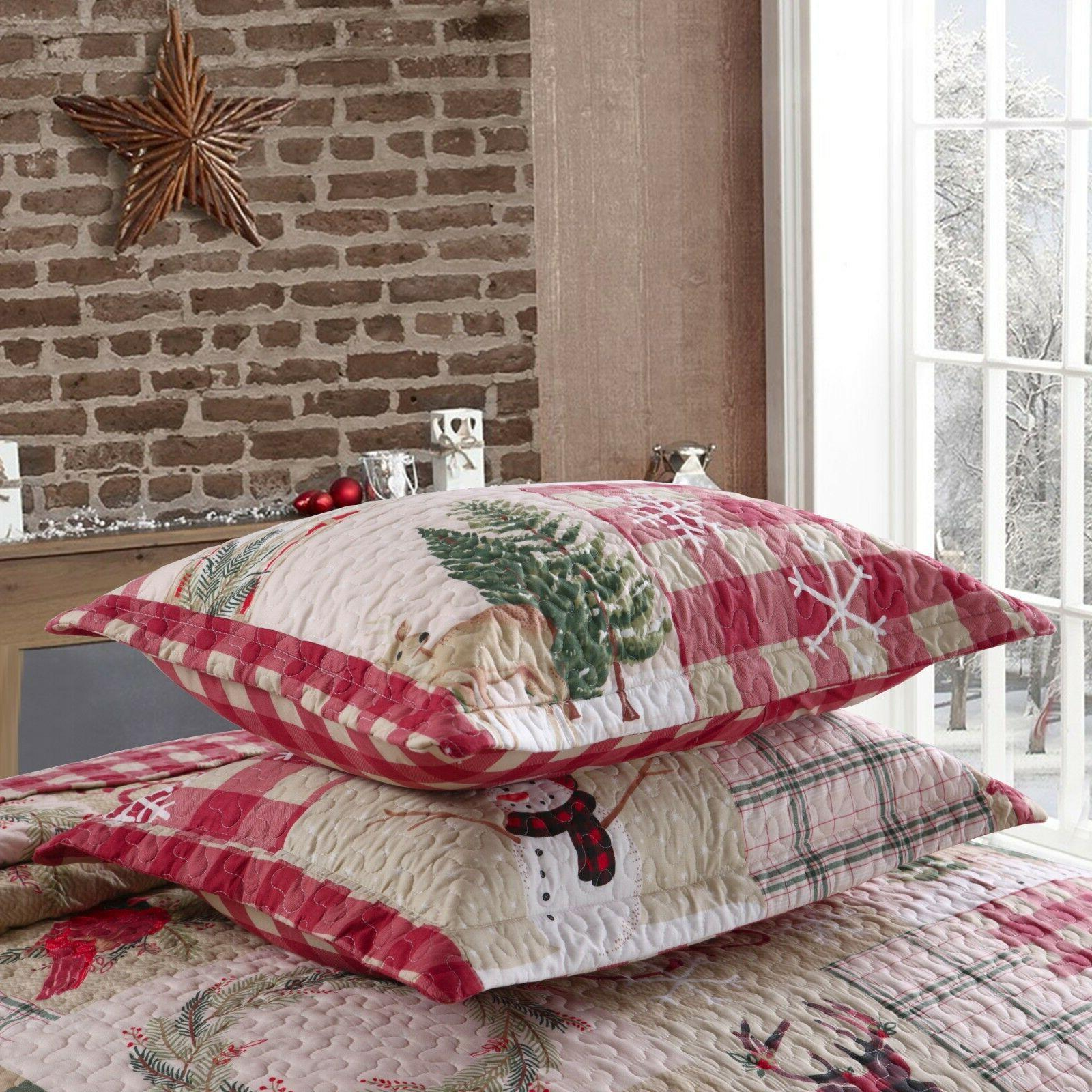3 Christmas Rustic Lodge Cabin Bedspread Quilt Snow Man